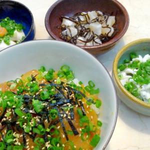 【食】ショウサイフグの漬け丼・塩昆布あえ・白子ポン酢