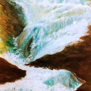 何処の滝だったか 水彩画