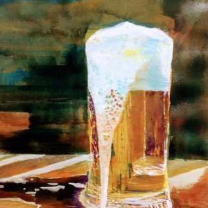暑くて 熱くて ビールが飲みたくて 水彩画