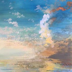 台風一過 鋸南の娘からの写真 小さな富士山 水彩画