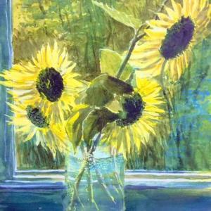 窓際のひまわり 夏を惜しむ 水彩画