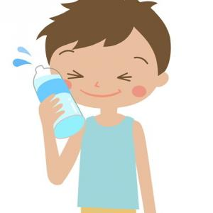 ペットボトルで涼む男の子のイラスト
