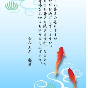 暑中お見舞い 金魚 のイラスト