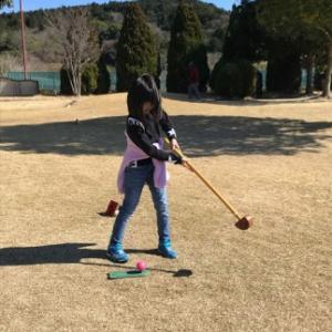 有度山公園にて孫とグランドゴルフを