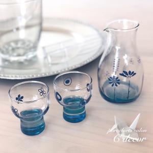 〈生徒様作品〉夏の宵に☆ブルーの冷酒カラフェ・グラスセット