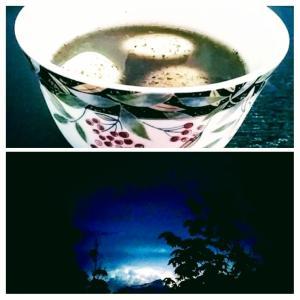 オンタリオは雷警報でした(宇宙船が降りてきそう!って)、夏の和デザート☆カナダ味メープルシロップ使用。おばあちゃんからもらったこれを使って。