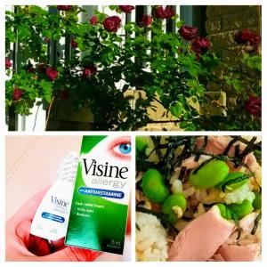 お助け目薬、このカナダで買う目薬で1日で赤みが消えた(良かった)!ピンク&グリーンのお料理^^サーモンと枝豆の混ぜご飯。