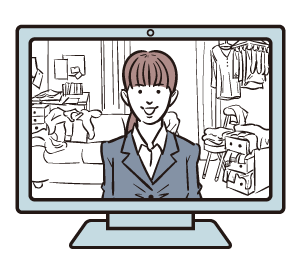 オンライン面談する場所を考える派遣社員(失業中)