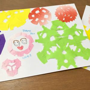 【母の日】子どもと一緒に折り紙で手作りの切り絵カード。