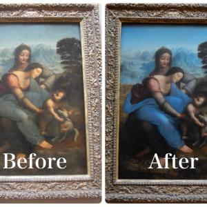 修復前・修復後(聖母子と聖アンナ)