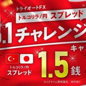 トルコリラスプレッド比較・トライオートFXが最狭1.5銭