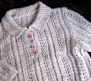 課題作品のポロ衿セーター