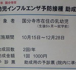 【国分寺市】パパママ要チェック!乳幼児インフルエンザ予防接種、計2000円/人 助成が受けられますよ!(平成29年)