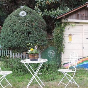 ガーデンテーブルセットを頂く・鋭い牙でガブリ!