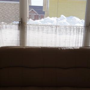 居間から見る外の雪山