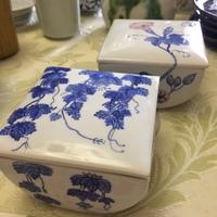今日も陶芸日和。 染付陶箱、ワイドリム、花入の染付