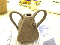 たたら作りの花入れ 自作のたたら粘土のカッティング道具