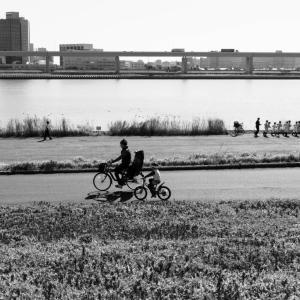 休日の荒川河川敷