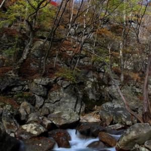 紅葉の杉田川渓谷,滝巡り  (袈裟ヶ滝)