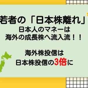 若者の「日本株離れ」、若者のマネーは海外成長株へ流入中|海外株投信は日本株の投信3倍に達する【株式投資】