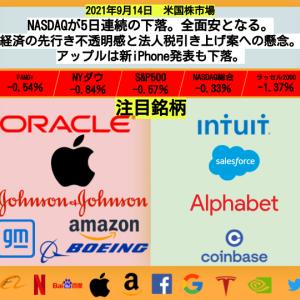 【米国株】NASDAQが5日連続の下落。全面安となる。経済の先行き不透明感と法人税引き上げ案への懸念。アップルは新iPhone発表も下落。