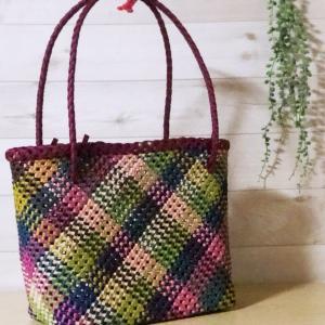 石畳編みのバッグ、今朝完成♡