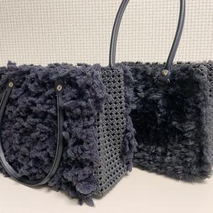 先月末にお納めした、ブラックカラーの毛糸編み込みバッグ。こんなんですよ♡
