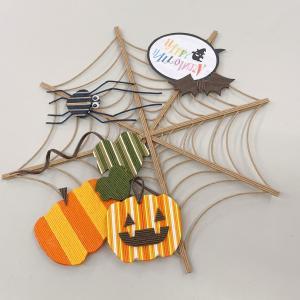 ハロウィン蜘蛛の巣リース、完成ご報告をいただきました。