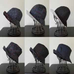 大島紬リメイク帽子