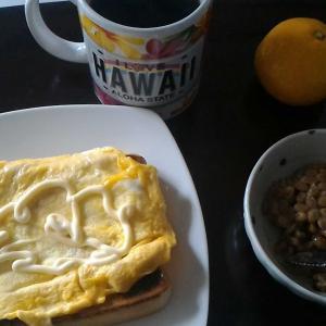 野菜がない、貧しい朝食やね💦