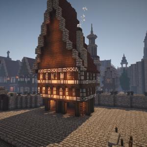 【Minecraft】街角の大きな家と広場。(1)
