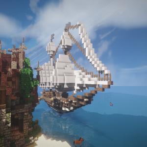 【Minecraft】大きな船って... マスト付けるの大変やな。