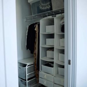 クローゼット収納の見直し。IKEAでリピ買いした愛用品に新色グレーも発見。