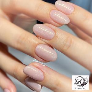 パールピンクのワンカラーネイル♡