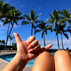 ハワイで一枚(プールサイドにて)