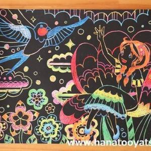 【100均】ダイソーのスクラッチアートシート「おとぎ話」。親指姫とシンデレラも完成しました。