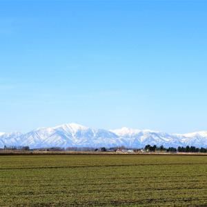 春の山々と十勝農業景観