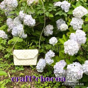 紫陽花と、ショルダーバックと