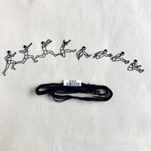 オリンピック刺繍 走り幅跳び