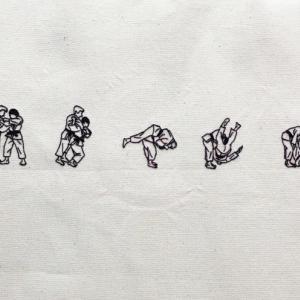 柔道一本背負いコマ送り刺繍