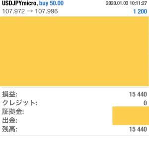 1/2〜1/3 新年一発目のトレード 利益¥15,440