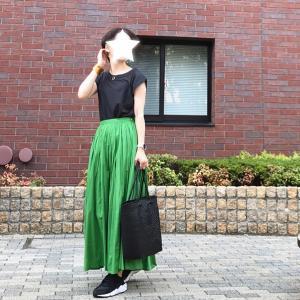 真夏に穿きたいグリーンスカート。