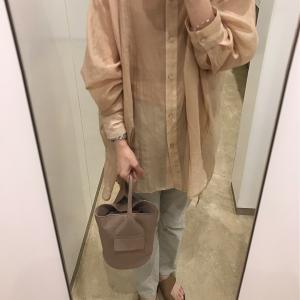 秋ヘアとシアーシャツで美容院コーデ。