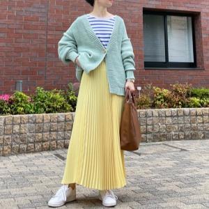 大好きプリーツスカートで爽やかカラーコーデ。/スーパーSALEポチ報告