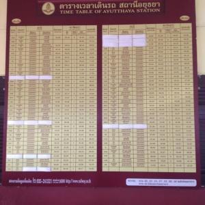 アユタヤ駅へ 時刻表を見に……