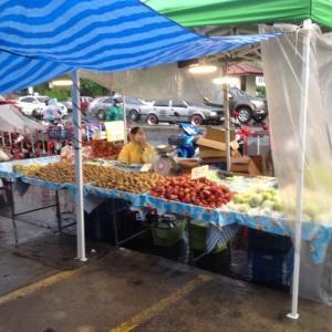 雨のタラート…果物屋台
