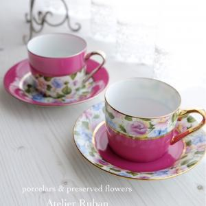 ペアのカップ&ソーサとコットンケース♡フリーレッスン