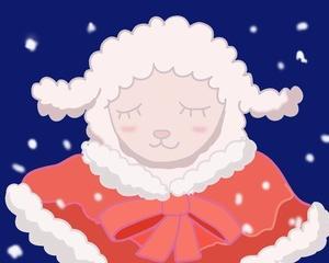 ひつじのメイプル イラスト クリスマス服みるくちゃん
