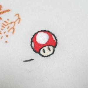 刺繍 × マリオスーパーキノコ