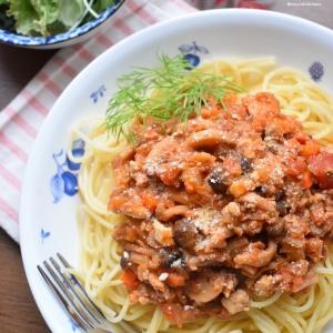 ♡先日のランチ♡合挽き肉+厚揚げde無水濃厚ミートソース♡レシピあり♡